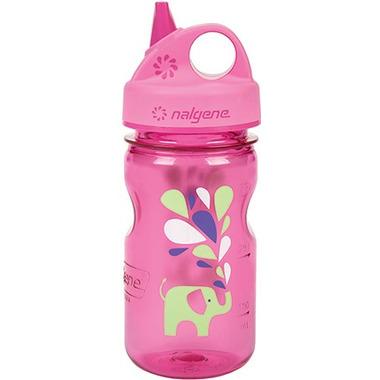 Nalgene 12 Ounce Grip-n-Gulp Bottle Pink with Elephant Art