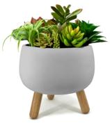 Natural Living Trino Round Planter Grey