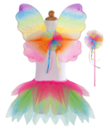 Great Pretenders Neon Rainbow Skirt Wings and Wand