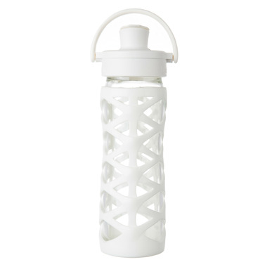 Lifefactory Glass Bottle with Active Flip Cap & White Silicone Sleeve