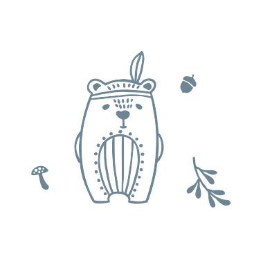 Wean Meister Easy Rinse Bibs Beatnik Bear Baby Blue and Grey