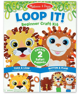 Melissa & Doug Loop It! Beginner Craft Kit Safari Puppets