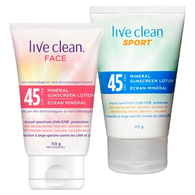 Live Clean Mineral Sunscreen SPF 45 Face & Body Bundle