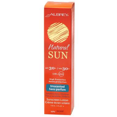 Aubrey Natural Sun Unscented Sunscreen Lotion