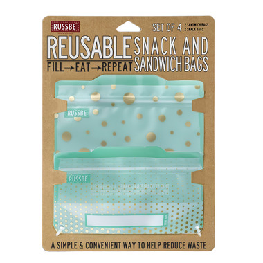 Russbe Reusable Snack/Sandwich Bags Metallic Polka Dot