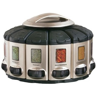 KitchenArt Black Select-A-Spice Auto-Measure Carousel