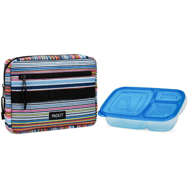 PackIt Freezable Bento Box + Container Set Blanket Stripe