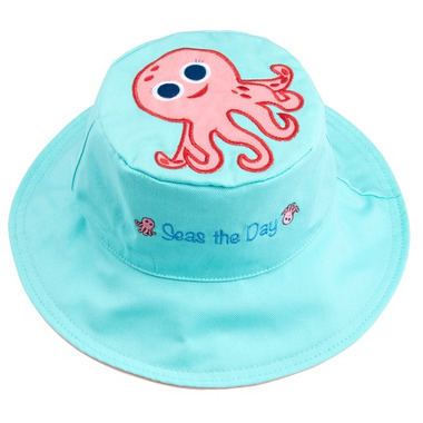 Flapjack Kids Reversible Sun Hat Pink Octopus & Sea Turtle