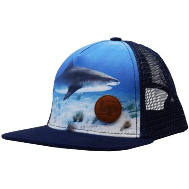 L&P Apparel Snapback Trucker Hat Navy Shark
