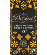 Divine Chocolate Dark Chocolate with Ginger & Orange 70% Cocoa