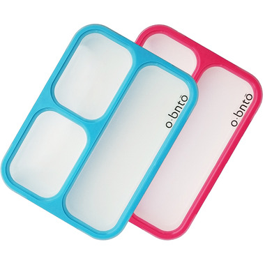 o bnto Bento Box 3 Compartment Blue and Pink Value Pack