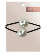 kitsch Metal Double Bead Hair Ties Pearl