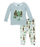 Kickee Pants Print Long Sleeve Pajama Set Woodland Cabin