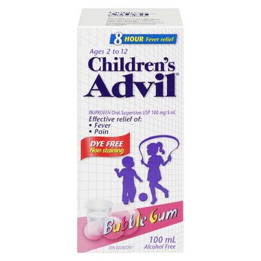 Advil Children\'s Suspension Dye Free Bubble Gum