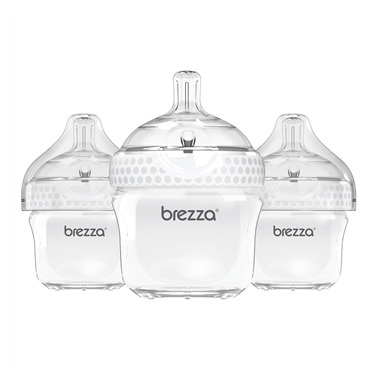 Baby Brezza Small Polypropylene Bottles Trio White