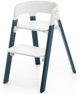 Stokke Steps Chair Midnight Blue Legs & White Seat