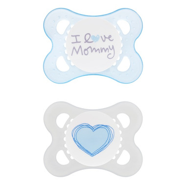 Mam Silicone Love & Affection Pacifier I Love Mommy Blue
