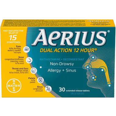 Aeirus Dual Action 12 Hour Non-Drowsy Allergy+Sinus Large