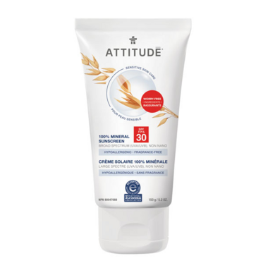 ATTITUDE Sensitive Skin 100% Mineral Sunscreen SPF 30