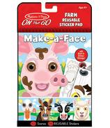 Melissa & Doug On the Go Make-a-Face Farm Bloc d'autocollants réutilisables