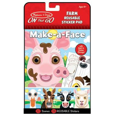 Melissa & Doug On the Go Make-a-Face Farm Reusable Sticker Pad