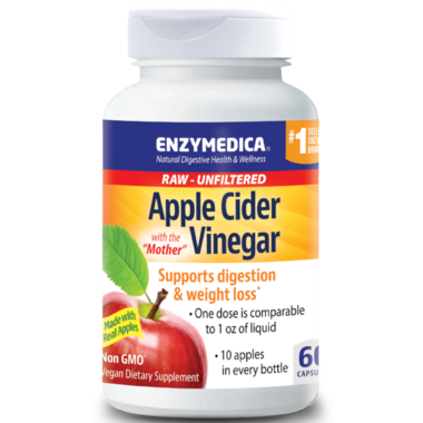 "Enzymedica Raw Apple Cider Vinegar ""with the Mother\"""
