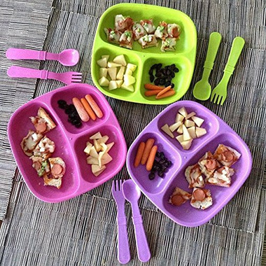Re-Play Divided Plates Princess Bright Pink, Lime Green and Purple