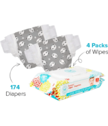 The Honest Company Panda Print Diapers & Wipes Bundle Size 4