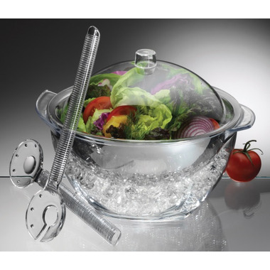 Prodyne Iced Salad with Dome Lid and Acrylic Salad Servers