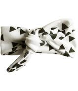 Bandeau Baby Wisp nœud dessus blanc avec des formes géométriques noires