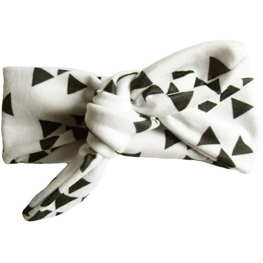 Baby Wisp Top Knot Headband White with Black Geometric Shapes