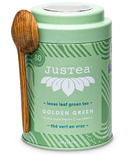 JusTea Golden Green Loose Leaf Tea Tin with Spoon