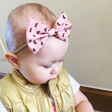 Baby Wisp Headband Fan out Bow Print Coral