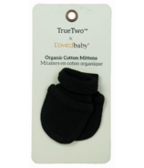 True Two x L'ovedbaby Organic Cotton Mittens Black