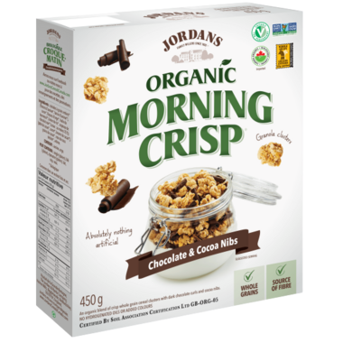 Jordans Morning Crisp Organic Cereal with Chocolate and Cocoa Nibs