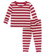 Kickee Pants Print Long Sleeve Pajama Set Candy Cane Stripe