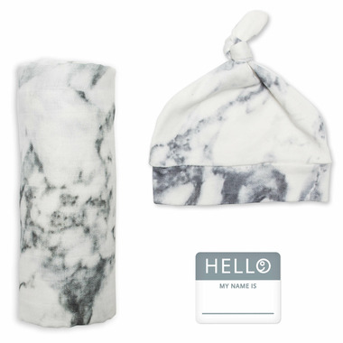 Lulujo Hello World Blanket & Knotted Hat Marble