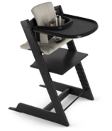 Stokke Tripp Trapp High Chair Complete Black with Grey Cushion and Tray