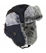 Calikids Water Repellant Nylon Shell & Faux Fur Hat Black