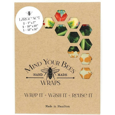 Mind Your Bees Large Hail to the Kale Set Beeswax Food Wraps, 5 piece