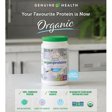 Genuine Health Fermented Organic Vegan Proteins+ Vanilla