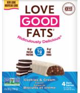 Love Good Fats barres à saveur de Cookies & Cream