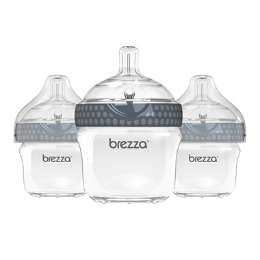 Baby Brezza Small Polypropylene Bottles Trio Grey