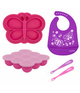 Kushies Siliset All-in-One Silicone Feeding Set Butterflies