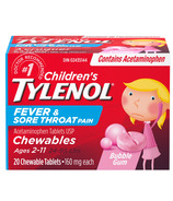 Tylenol Children's Fever and Sore Throat Pain Chewable Tablets Bubble Gum
