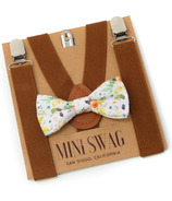 Mini Swag Fall Floral Bow Tie & Coffee Brown Suspenders Set