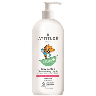 ATTITUDE Nature+ Little Ones Bottle + Dishwashing Liquid Fragrance Free