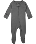 L'oved Baby Organic Footed Zipper Jumpsuit Grey