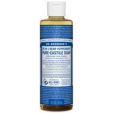 Dr. Bronner\'s Organic Pure Castile Liquid Soap Peppermint 8 Oz