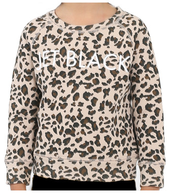 Brunette the Label Jet Black Toddler Sweatshirt Crew Leopard Print